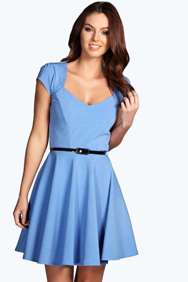 066285f8ee Boohoo Lara Sweetheart Neck Skater Dress on shopstyle.com
