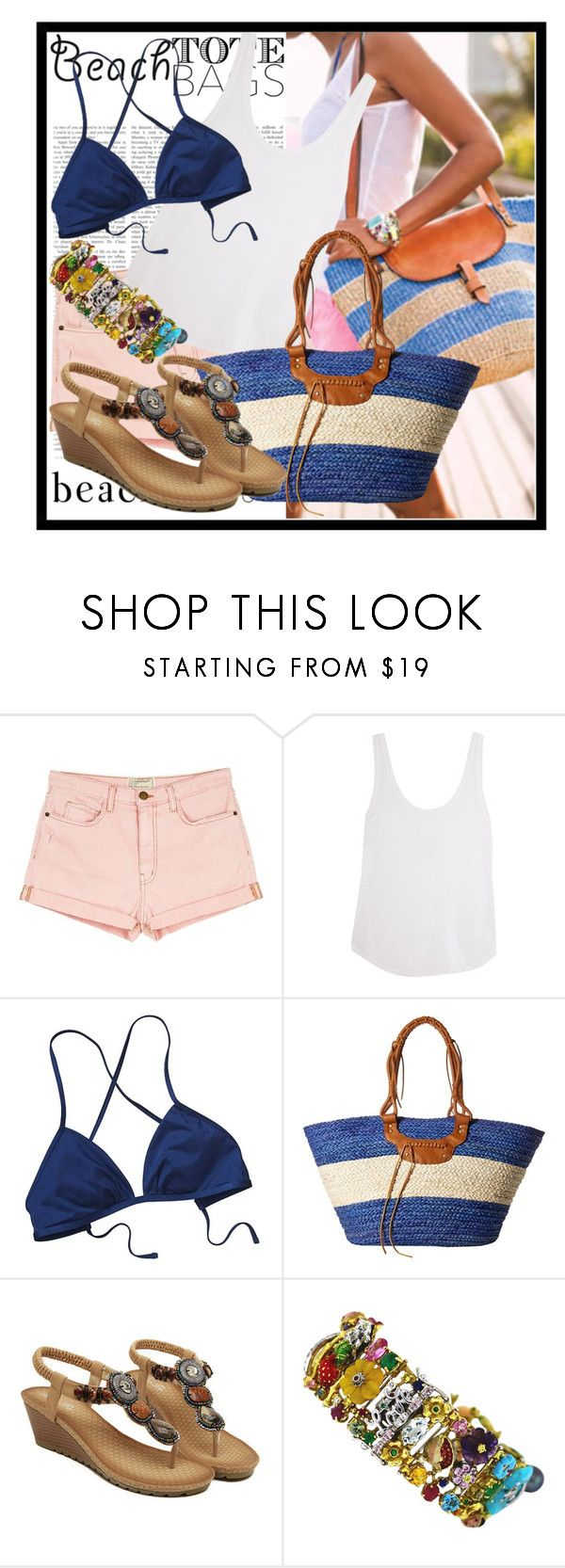 """""""Beach Tote Bag"""" by diana97-i ❤ liked on Polyvore featuring Current/Elliott, Frame Denim, Patagonia, San Diego Hat Co. and beachtotes"""