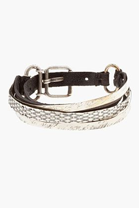 Goti Black Belted Metal & Leather Bracelet for men | SSENSE