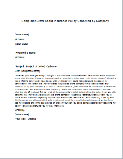 Complaint letter about insurance policy cancelled company write complaint letter about insurance policy cancelled company write cancellation sample cover templates spiritdancerdesigns Choice Image