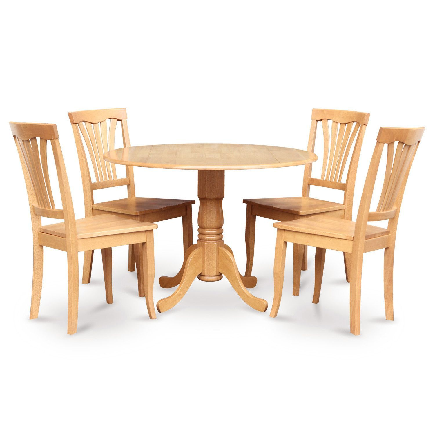 Oak Round Kitchen Table and 4 Kitchen Chairs 5-piece Dining Set ...