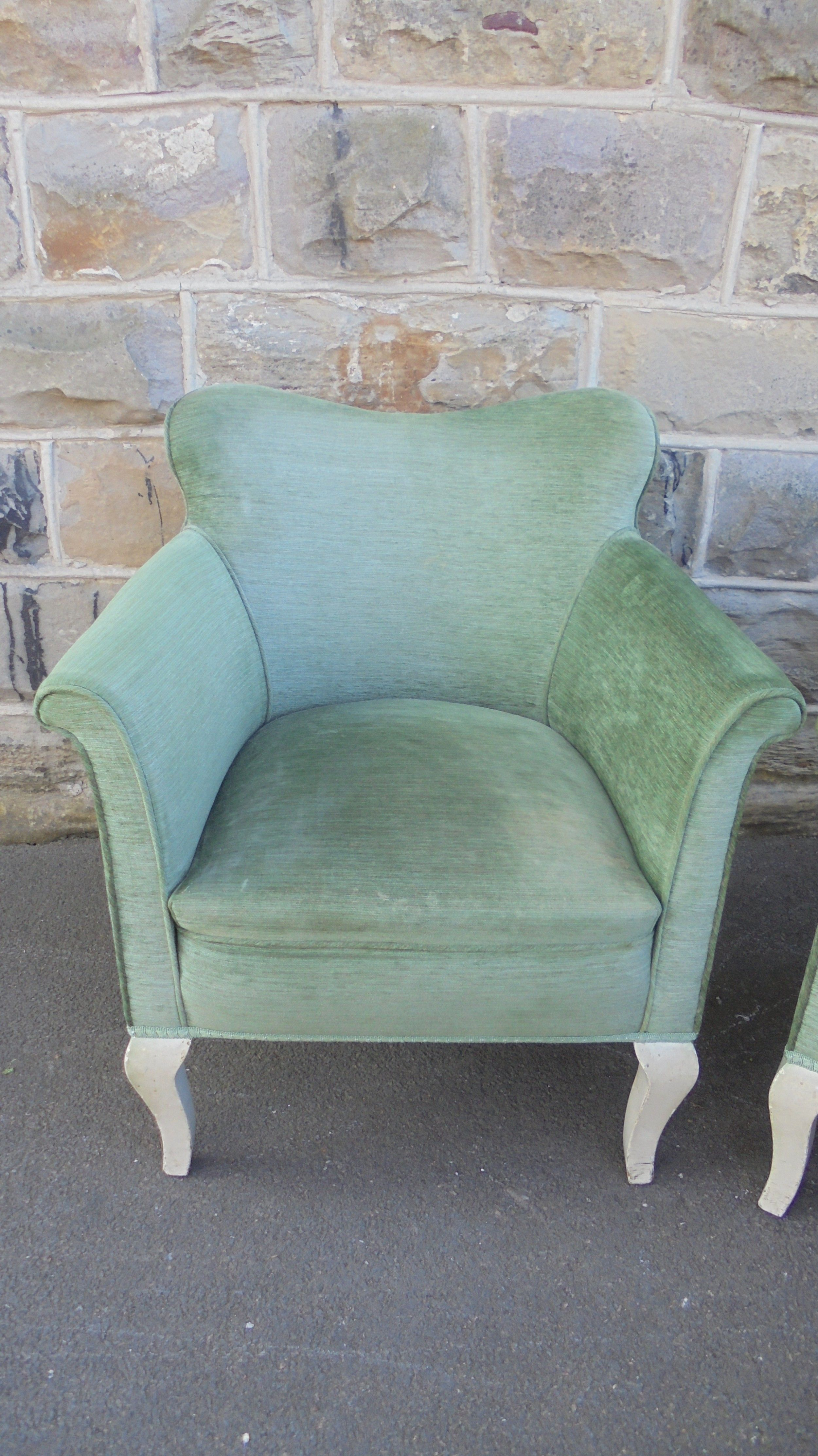 Pair Antique English Upholstered Armchairs 610800