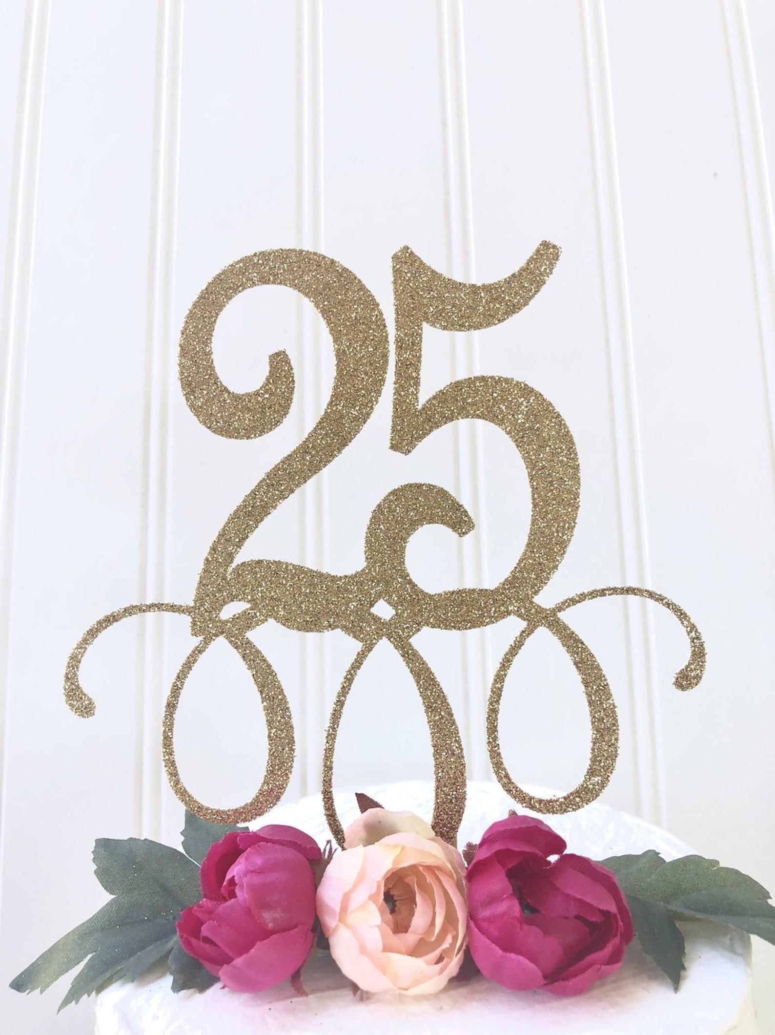 Glitter 25 cake topper in 2020 25th birthday happy 25th