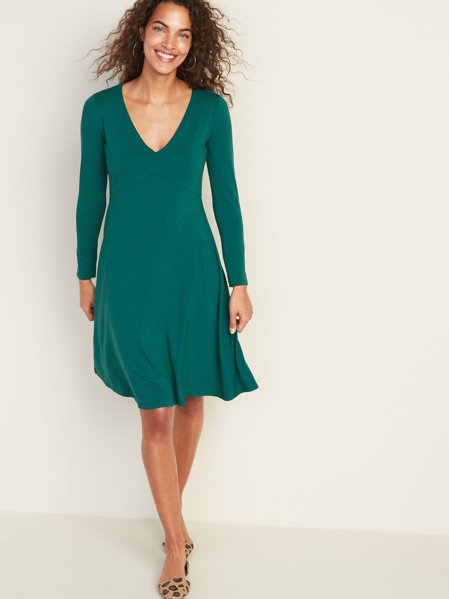Fit Flare Empire Waist Jersey Dress For Women Empire Waist Dress Casual Navy Lace Dress Knit Swing Dress [ 2000 x 1500 Pixel ]