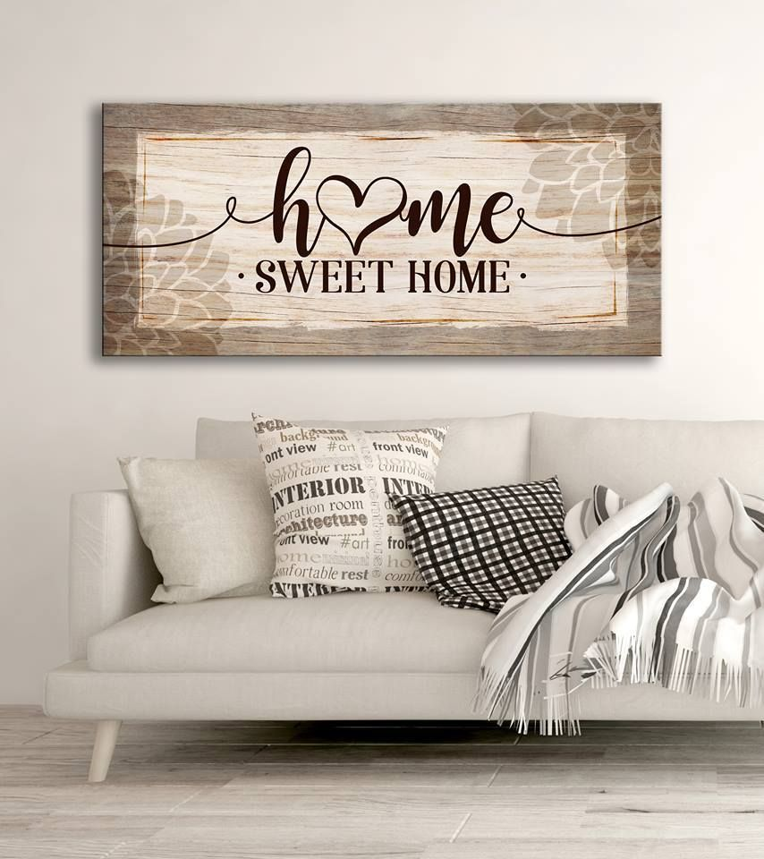 Home Wall Art: Home Sweet Home V4 (Wood Frame Ready To Hang)