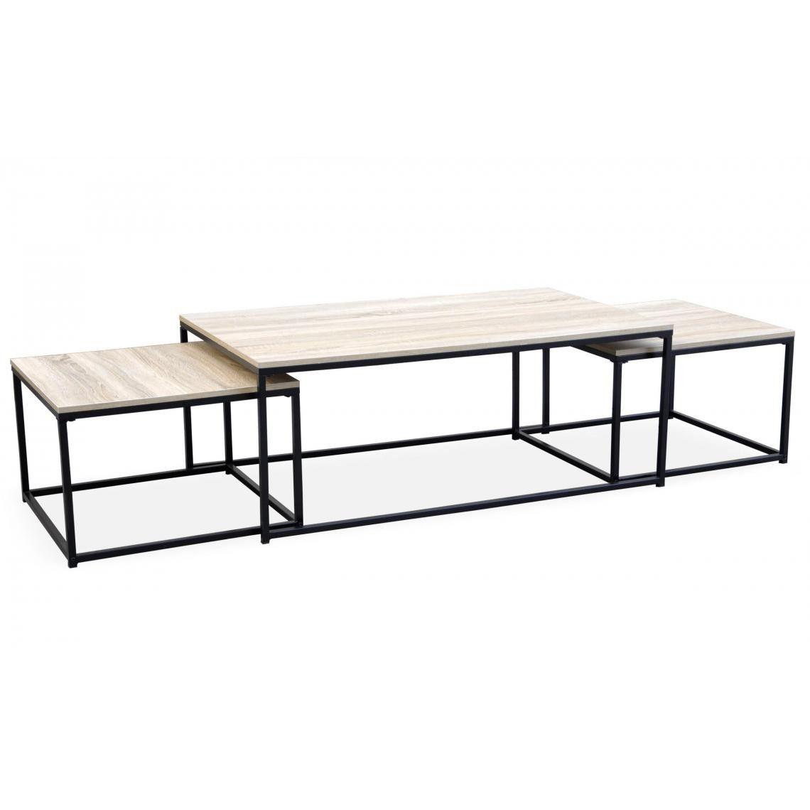 Table Basse Beige Et 2 Tables Gigognes Structure En Fer Noir Caro Plus De Details Table Basse Table Basse Extensible Tables Gigognes