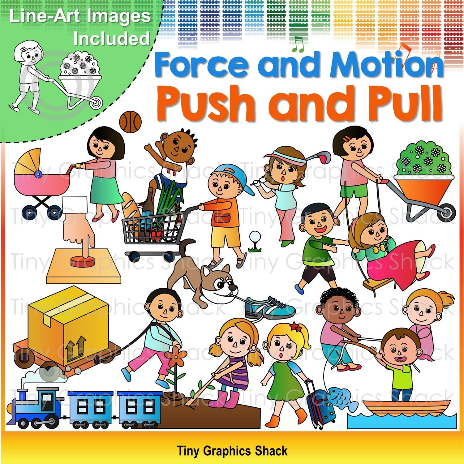 Force And Motion Push And Pull Clip Art Force And Motion Pushes And Pulls Clip Art [ 1500 x 1500 Pixel ]