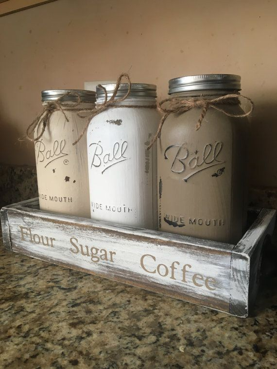 Kitchen canisters HALF GALLON JARS flour sugar by DandEcustom & Mason jar canister set  HALF GALLON JARS kitchen canister set ...