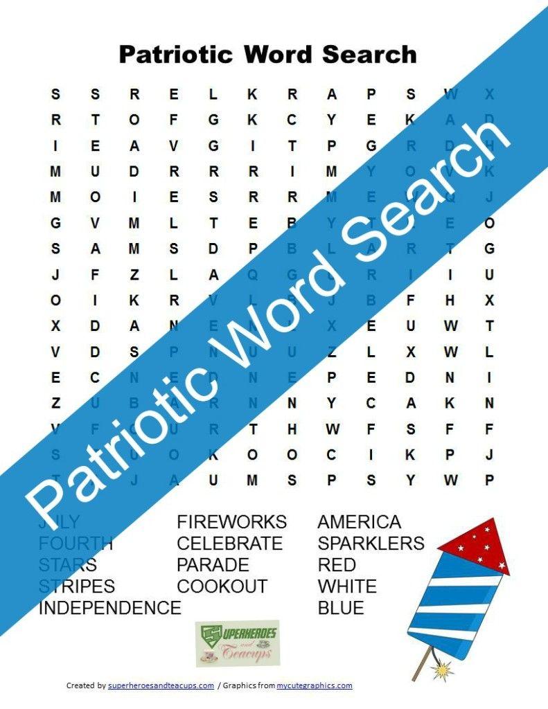 Patriotic Word Search Free Printable | Superheroes and Teacups ...