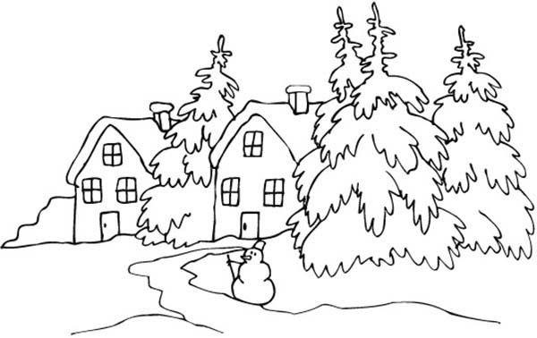 Landscapes Snowy Village Landscapes Coloring Pages Winter