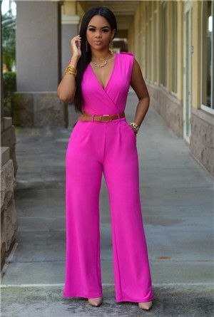 c814eab79702 New Loose Sexy European American brands Jumpsuit Ladies Slim V neck Pocket  Sleeveless Women full Length jumpsuit belts