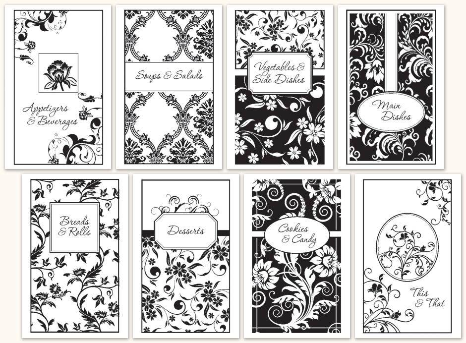 Free Cookbook Divider Templates | One Color Divider Set D511   Morris Press  Cookbooks
