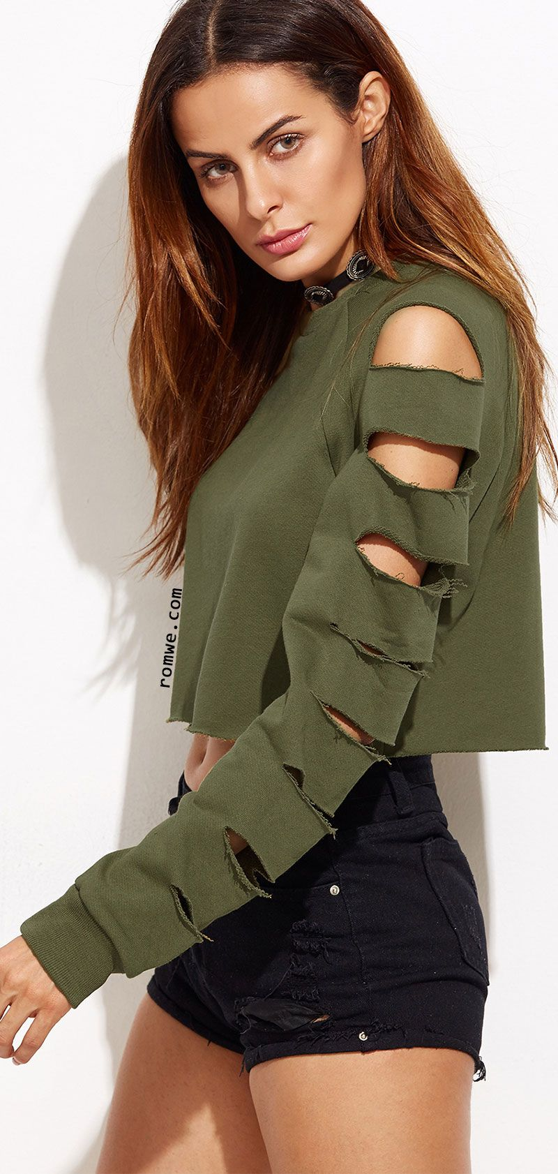 e98e76e2d9dec1 Up to 90% Off - Army Green Ladder Cut Out Sleeve Raw Hem Sweatshirt ...