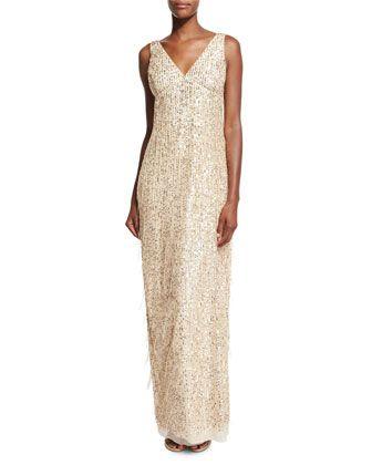 Aidan Mattox Sleeveless Sequin & Fringe Column Gown, Gold   Aidan ...