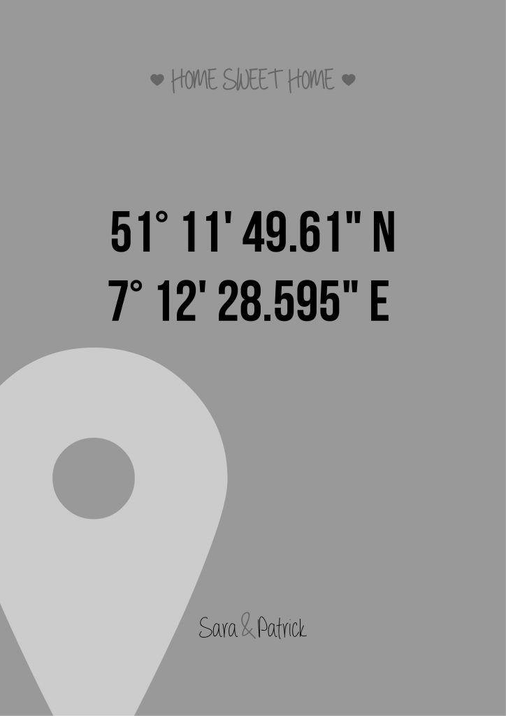 personalisiertes bild home sweet home gps in a4 321geschenke blog webseite geschenke. Black Bedroom Furniture Sets. Home Design Ideas