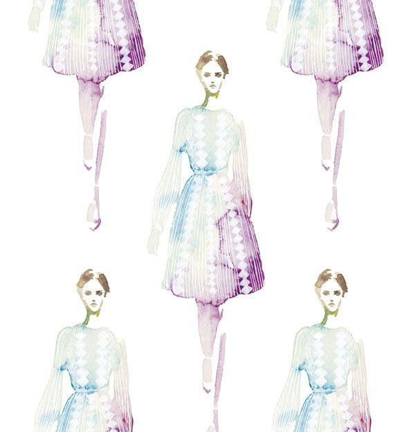 watercolor,illustration,fashion,dress,valentino