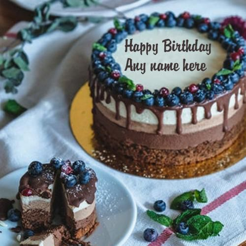 Latest Beautiful Happy Birthday Wishes Chocolate And Cherry Cake With Vanilla Ice Cream Online Free Create Your Cute Name