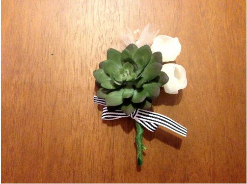 Handmade Faux Succulent Boutonnieres by CatharineKlepac on Etsy, $10.00