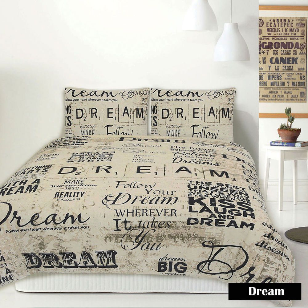 Retro Home Dream Script French Vintage Quilt Cover Set Single