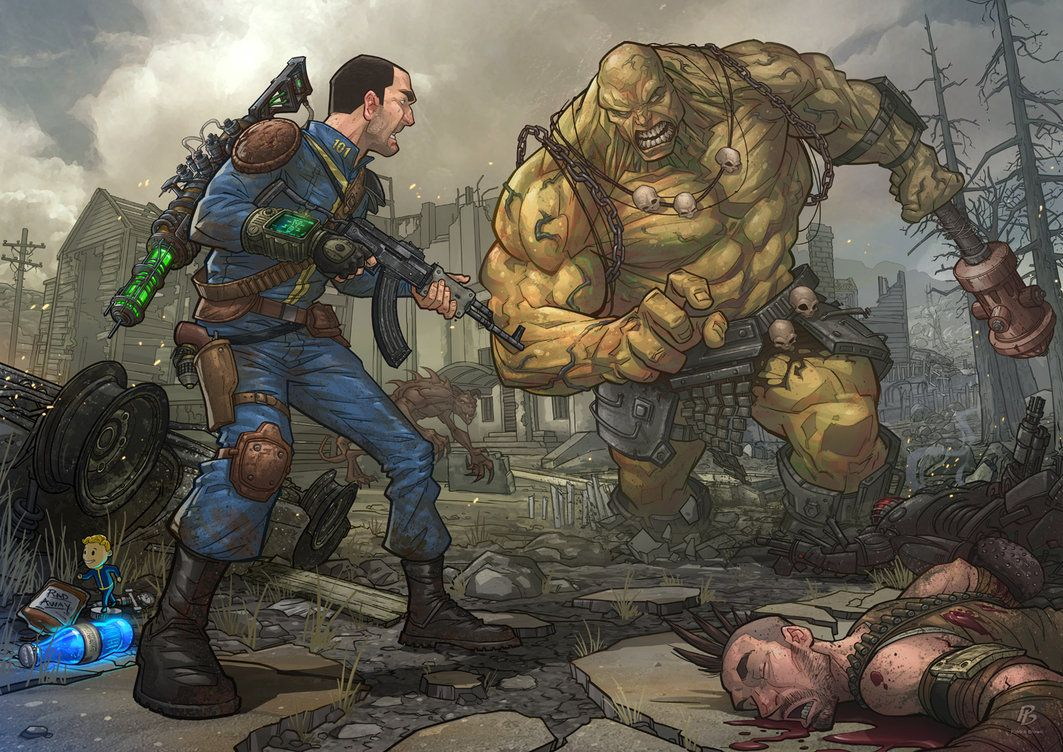 The Vault Dweller Facing Down A Super Mutant Behemoth From Some