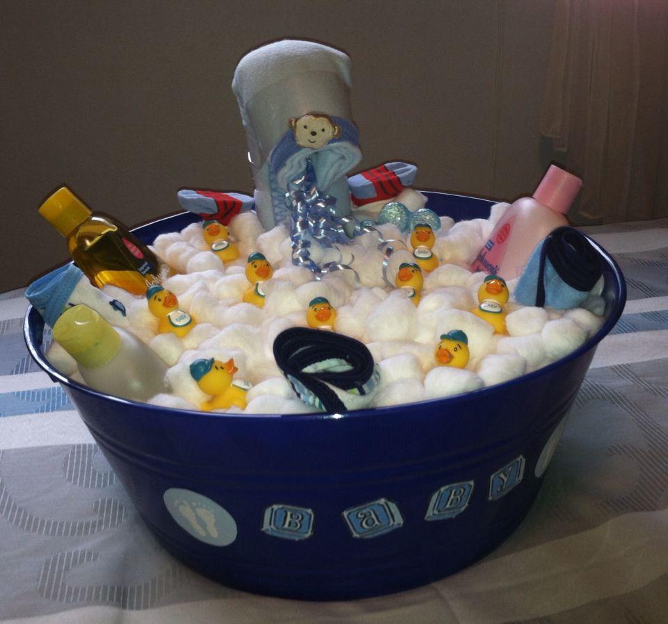 Baby boy bathtub diaper cake baby shower duck simple