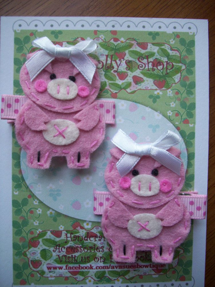 Handsewn Pink Pig Felt Hair Clips by LittleDollysShop on Etsy