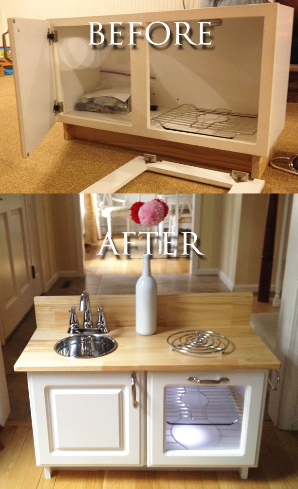 Leah S Diy Kitchen Before And After Photo Pretend Play Kitchen