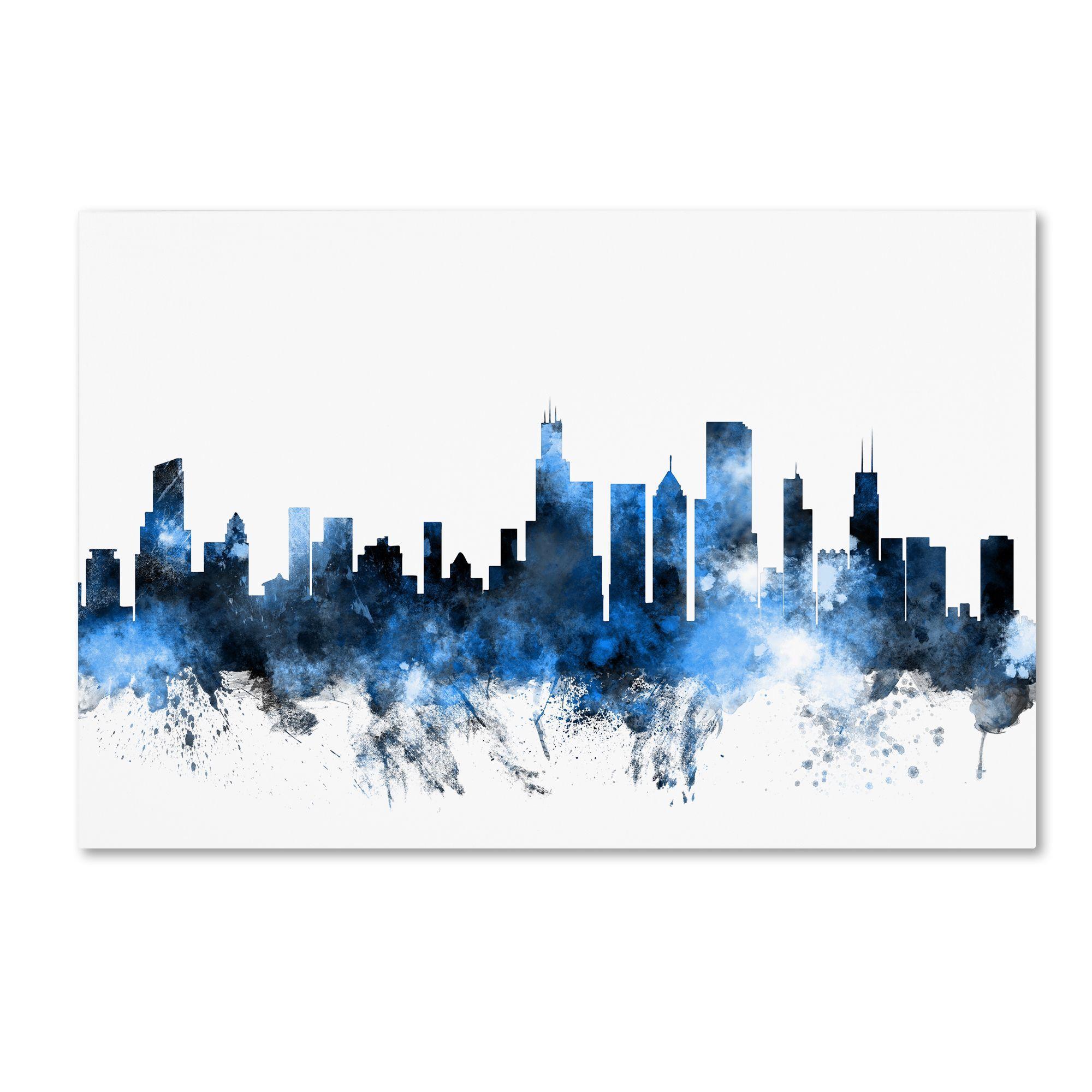Michael Tompsett \'Chicago Illinois Skyline II\' Wall Art | Painting ...