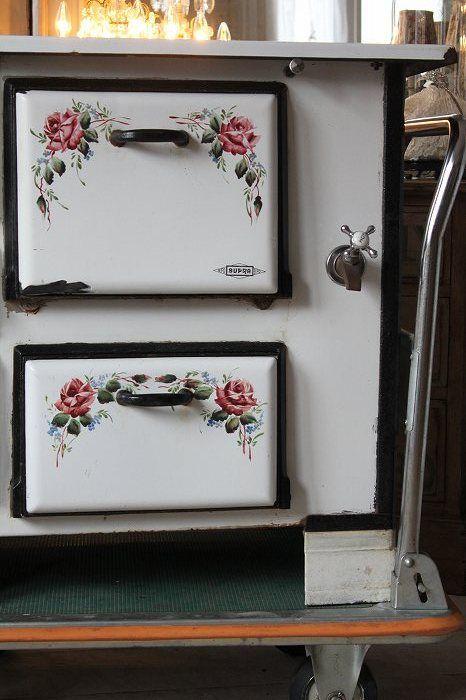 Estufa de le a horno de gama de esmalte antigua british - Cocinas de lena antiguas ...