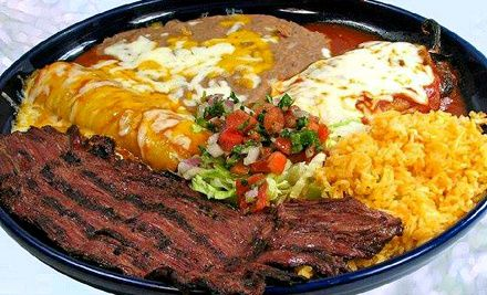 Groupon - Mexican Lunch or Dinner at Tres Fiestas (Up to 44% Off). Two Options Available.. Groupon deal price: $10.00