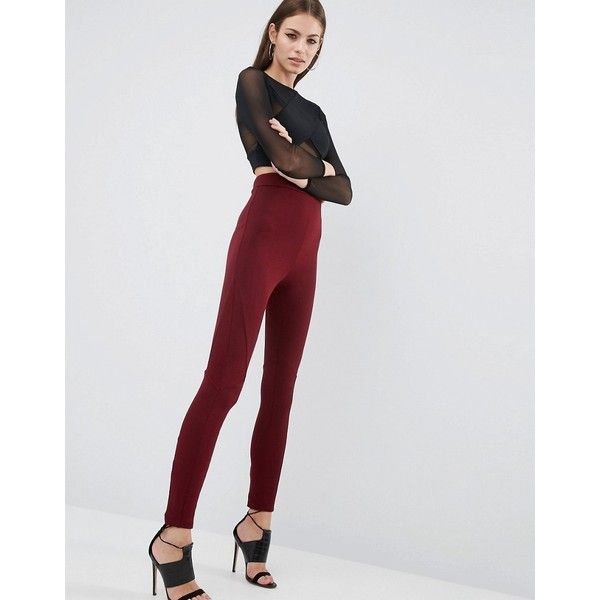 ASOS Leggings with Rib Panels ($31) ❤ liked on Polyvore featuring pants, leggings, red, high waist stretch pants, high-rise leggings, high waisted leggings, textured leggings and elastic waist pants
