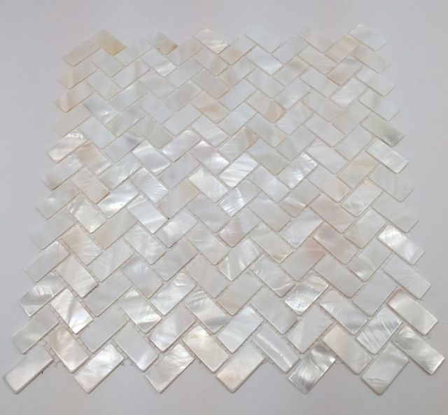 Mother Of Pearl Herringbone Oyster White Backsplash Mosaic Shell Tile Contemporary Wall And Floor Stone Mosaics
