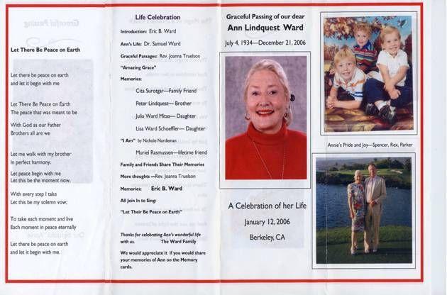 free funeral program sample 1341 Template for celebration of life