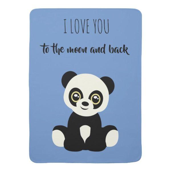 Baby blanket in blue with panda bear. | Zazzle.com #babypandabears