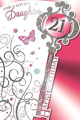 Vibrance Daughter Handcrafted 21st Birthday Card Silver Glitter 21 Key 9 X 6 Cards Stationery Cele 21st Birthday Cards Girl Birthday Cards Card Craft