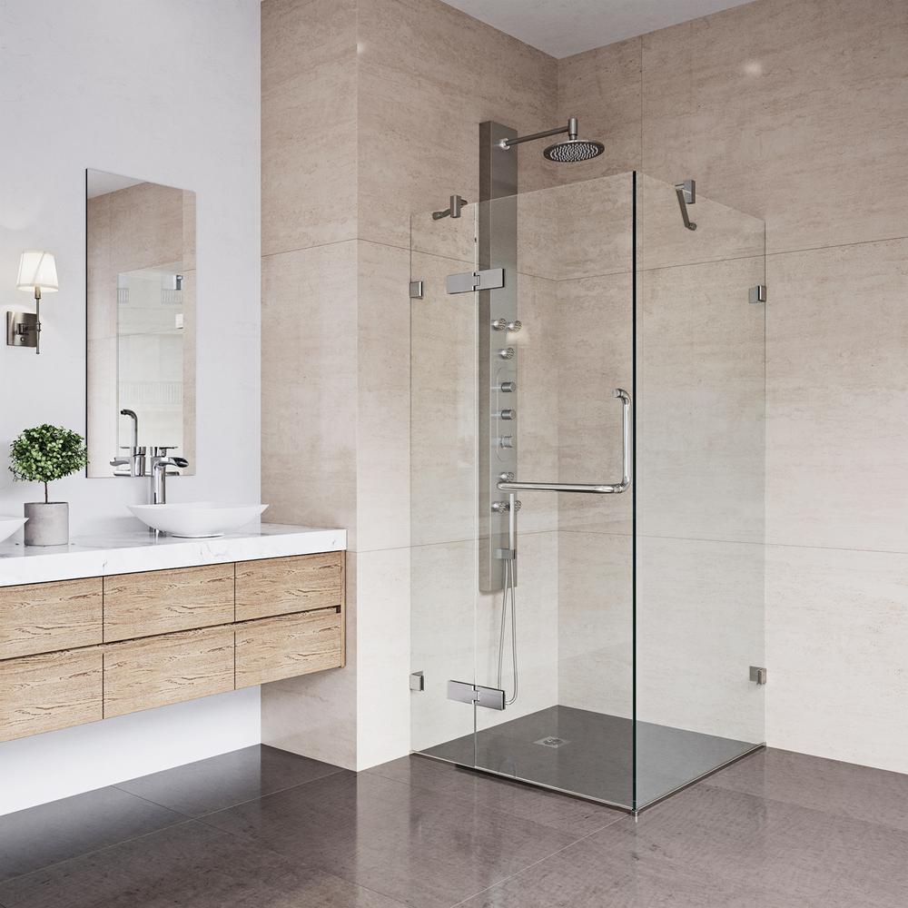 Vigo Monteray 30 25 In X 73 375 In Frameless Corner Hinged Shower Enclosure In Brushed Nickel W Bathroom Layout Bathroom Tile Designs Bathroom Remodel Master