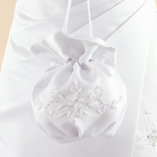 Girls White Satin 1st Communion Flower Girl Dolly Bag Gloves Hair Clip Set