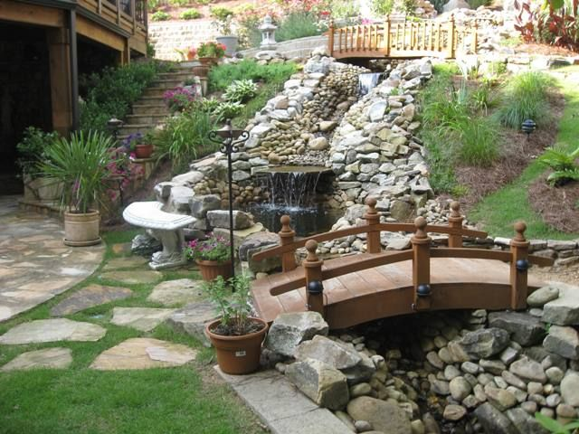 Stonescape Creek And Bridge Hardscape Waterfall Landscape Contemporary Garden