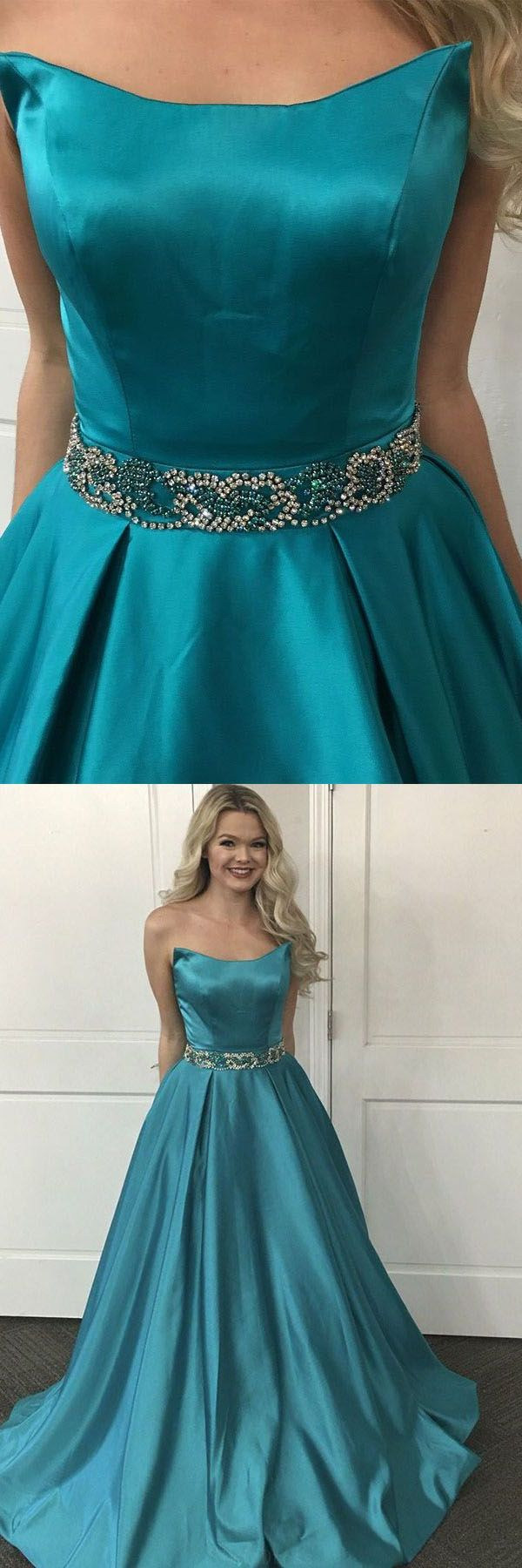 Cheap comfortable prom dresses strapless sweep train turquoise