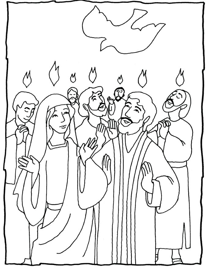 Pentecost - several coloring pages - great ideas | Hobbies: Church ...