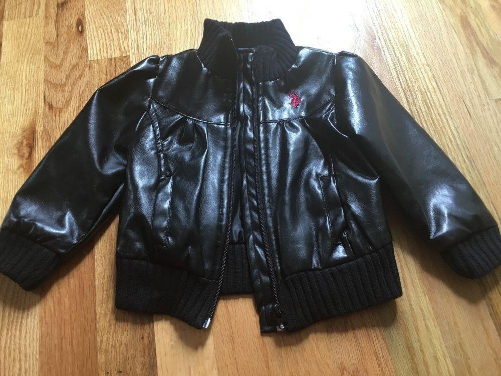 Polo girls leatherlike black jacket free shipping Polo