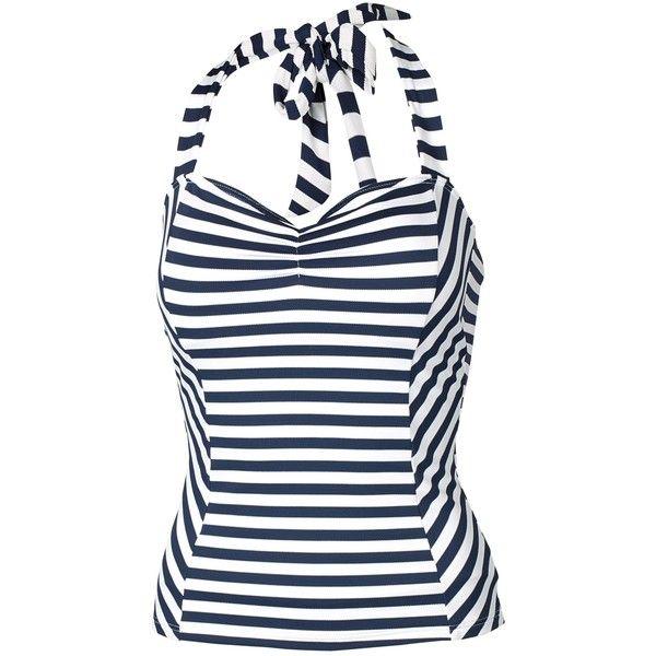 Fat Face Breton Cut About Tankini Top, Navy/Cream ($40) ❤ liked on Polyvore featuring swimwear, bikinis, bikini tops, navy bikini top, swim suit tops, navy blue bikini top, halter bikini top and halter neck bikini top