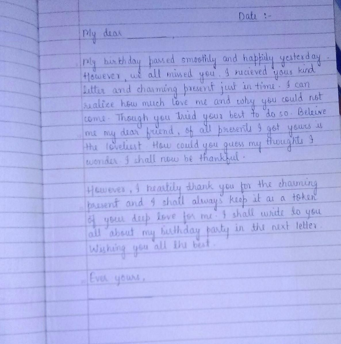 Write A Letter To Your Friend Thanking Her For Birthday Gift In 2021 Best Lettering My Party Essay 10 Line On Clas 2 Hindi Grade 5