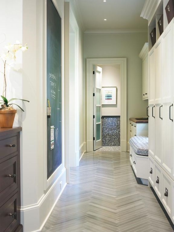 Contemporary Mud Room With Legno Large Herringbone Travertine Mosaic Floor Tile 11 X 12 In Crown Molding Hardwood Mudroom Laundry Room Mudroom Lockers Home