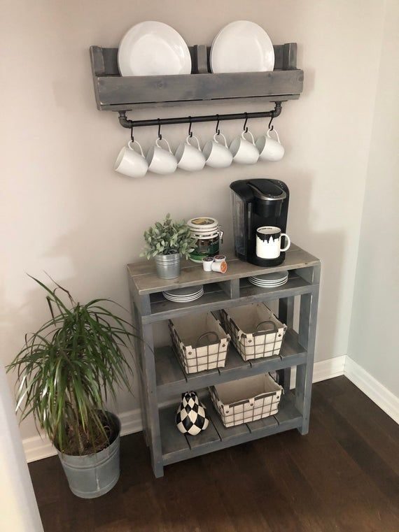 Daisy Coffee Bar Table // Coffee Bar Table // Coffee Station Table// Pallet Table // Wine Storage // Entry Table // Bookcase #coffeebarideas