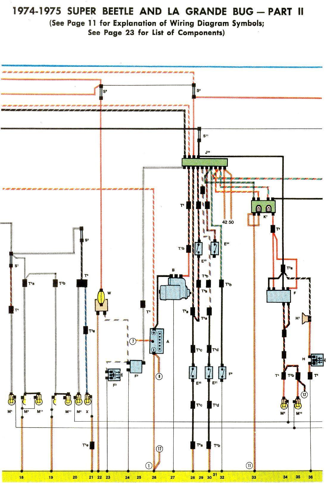 1974-75 Super Beetle Wiring Diagram | TheGoldenBug.com | Diagram, Beetle,  Tactical truck | 75 Vw Bus Wiring Diagrams |  | Pinterest