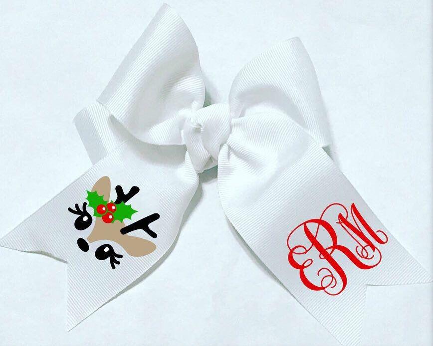 Girls Reindeer Hair Bows | Kids & infants Christmas hair bows | Reindeer Monogram Hair bow | Rudolph Headband | infant Christmas Hair bow #hairbows