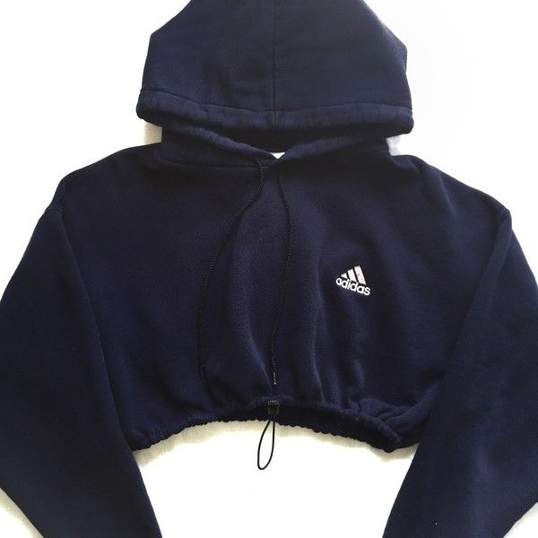 cc6f558a Reworked Adidas Small Logo Crop Hoody Navy ($48) ❤ liked on ...
