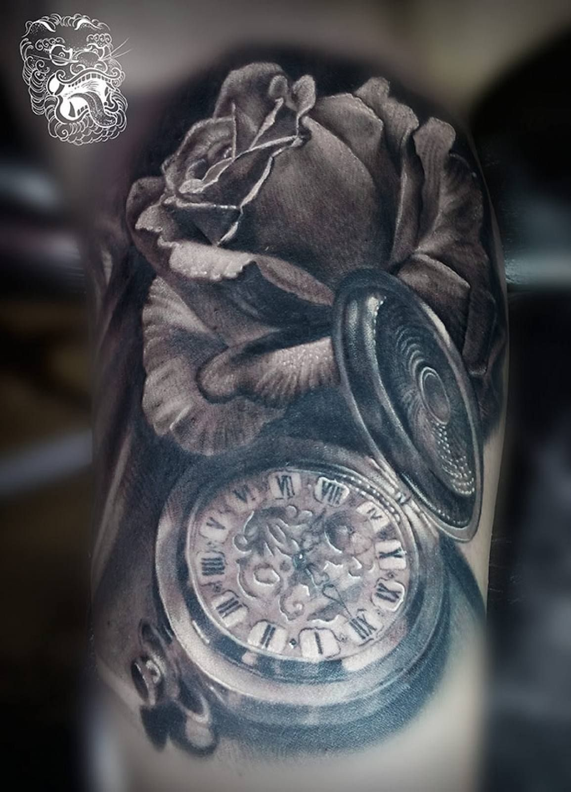 Realistic pocket watch tattoo  Realistic rose and pocket watch tattoo- Malan Tattoo Dublin ...