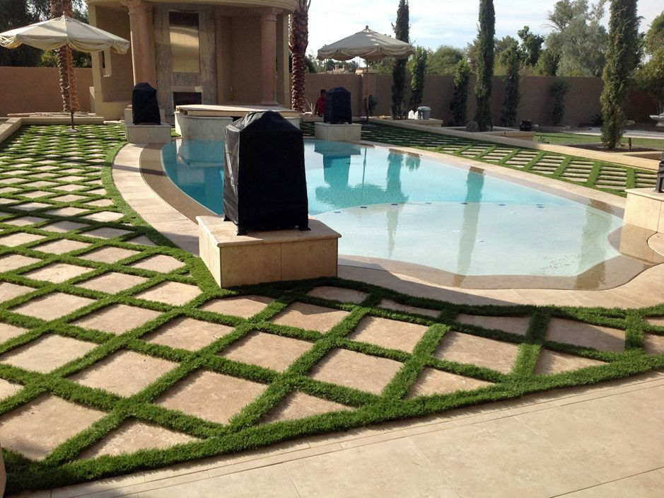 Artificial grass installation in maricopa arizona for Pool design az